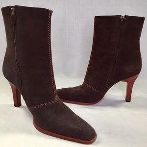"""Tod's chocolate brown suede boots 3.5"""" heel"""